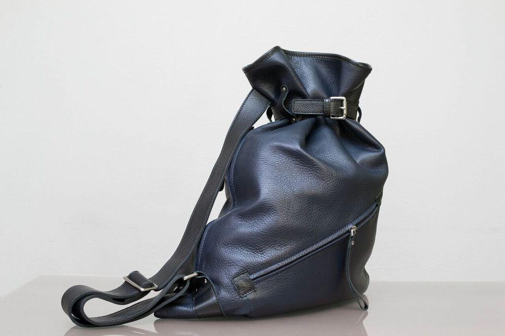 Bufalo BP-01BR синий кожаный рюкзак-мешок